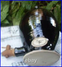 Retro OLD BALLARAT POTTERY Drink Dispenser withWooden Tap Bar Kitchen Collectable