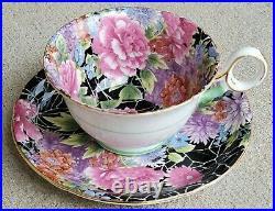 SHELLEY Black Crackle Chintz Teacup and Saucer Set Old Cambridge Shape RARE