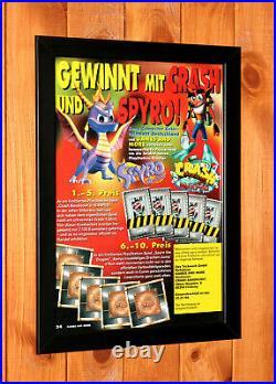 Spyro the Dragon Crash Bandicoot Warped PS1 Promo Vintage Poster / Ad Art Framed