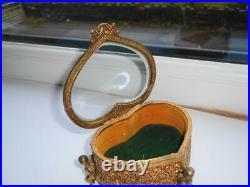Unusual Antique Old Vintage Cherub Heart Shaped Ormalu Jewellery Box Glass LID