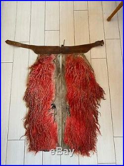 VERY RARE Antique OLD Red Angora Wooly Chaps Authentic Western Wear