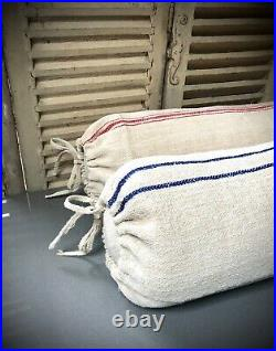 VINTAGE FRENCH LINEN BOLSTER CUSHION. NEW OLD STOCK, GRAIN SACK. BLUE or RED