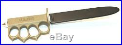 VINTAGE US 1918 WW1 BRASS HANDLE TRENCH KNIFE Not Original but Old