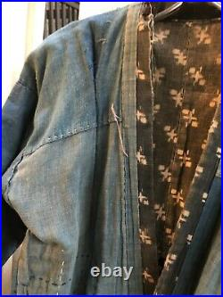 Very Old Japanese Youth Field Worker Jacket Boro Stitch Indigo Patched Fabric