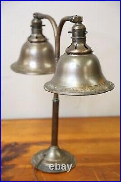 Vintage Antique Desk Lamp Bankers Lamp 2 arm light Art Deco old round shades