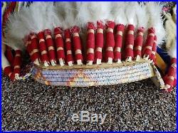 Vintage Authentic Native American Handmade War Bonnet Headdress Old Sioux