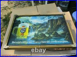 Vintage Heileman's Old Style Waterfall Lighted Motion Beer Sign 24x17 WORKS