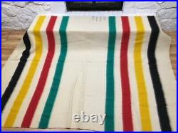 Vintage Hudson's Bay 4 Point Wool trapper Blanket striped 88 x 70 Great Old Tag