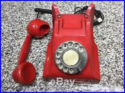 Vintage OLD Red Bakelite ITI Rotary Dial GPO Design Telephone