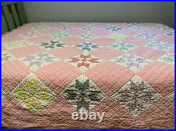 Vintage Quilt 8 Point Star 72x78 Pink Hand Quilted Great Old Fabric