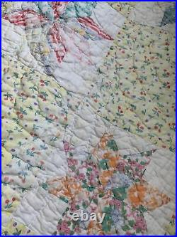 Vintage Quilt Star 76x87 Hand Quilted Display or Repurpose Great Old Fabric