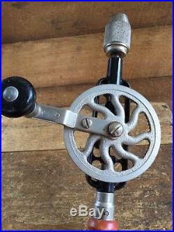 Vintage SOGARD USA Eggbeater DRILL Old Antique Hand Boring Brace Tool #162