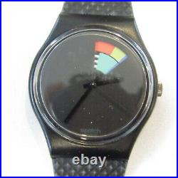 Vintage SWATCH Watch Color Window GB715 1989 Black NEW Old Stock