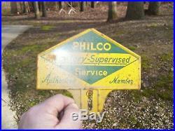 Vintage original PHILCO radio Ford license plate topper service gas oil old auto