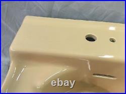 Vtg Mid Century Cramic Sun Tan Porcelain Bath Wall Sink Old Standard 24-18E