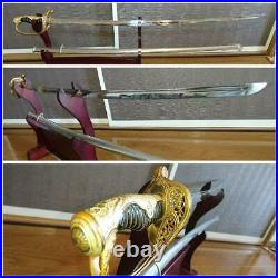 WW2 Former Japanese Army Officer Command Saber Sword withCarved Handle Japan #3749