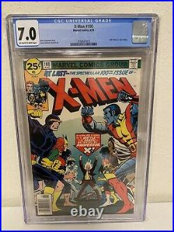 X-Men #100 CGC 7.0 FN+/VF- OLD vs NEW Claremont Marvel Comics 1976 off-white